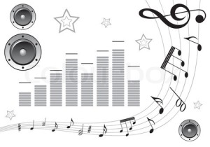 music-element-with-note-pattern-and-loudspeaker-element-for-design-vector-illustration